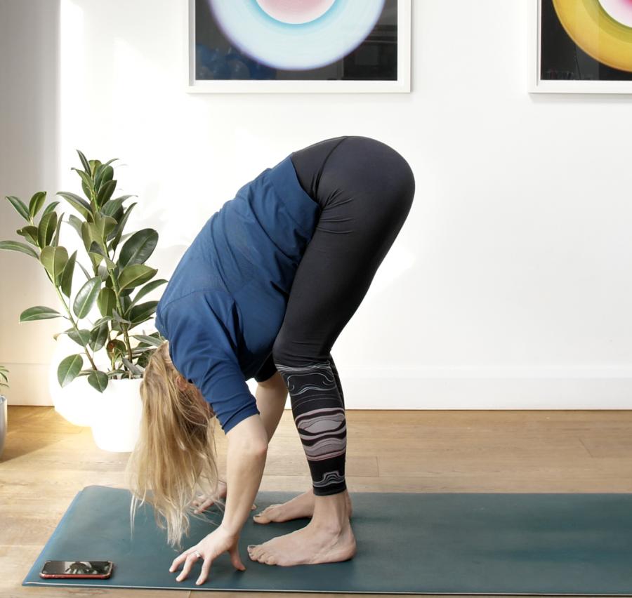 forward fold, yoga, bent knees, hamstrings